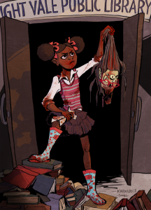Fanart by birdloaf shows Tamika Flynn holding the head of a killed librarian in the doorway of the Night Vale Public Library
